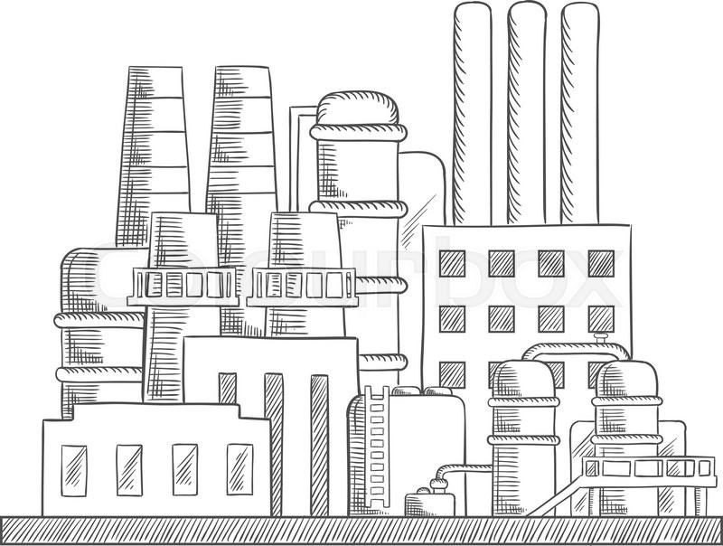 Industrial refinery factory sketch with set of buildings