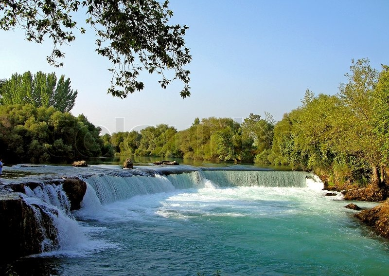 Tree With Leaves Falling Wallpaper Beautiful River And Waterfall In Manavgat Turkey Stock