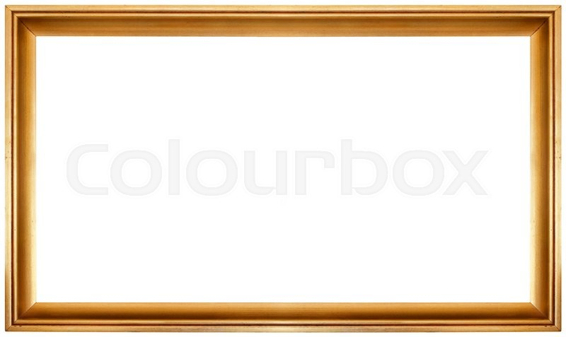 Simple Golden Frame Isolated On White Background Stock