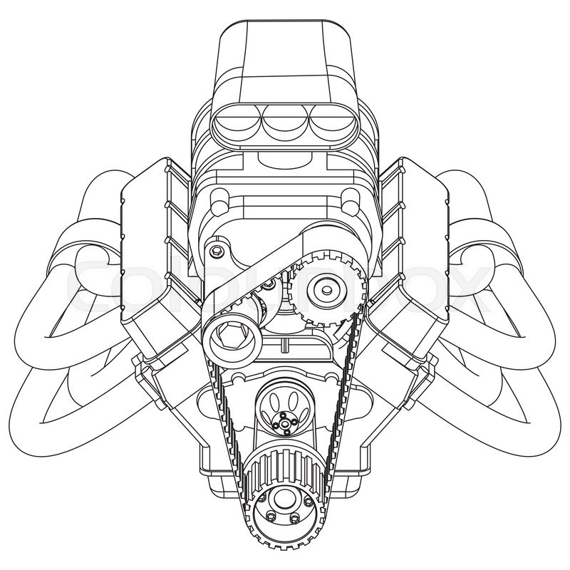 Schematic drawing of Hot Rod Engine. Vector illustration
