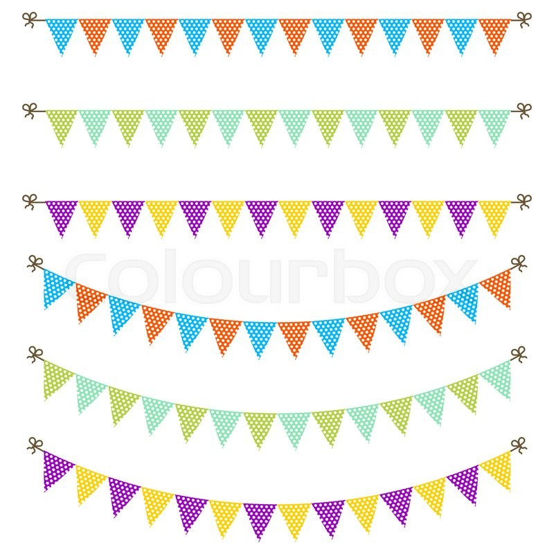 Bunting Garland Dotted Flags Vector Stock Vector