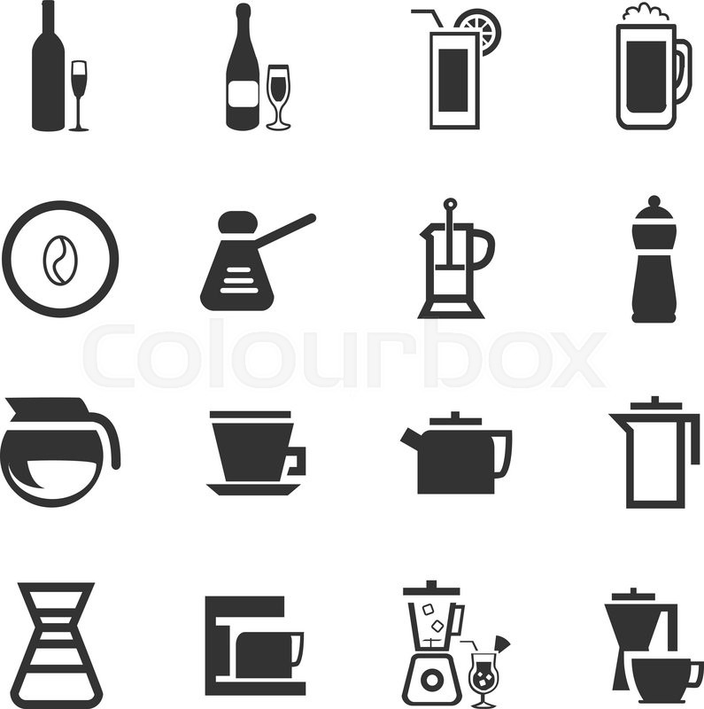 Utensils for the preparation of beverages icon set for web