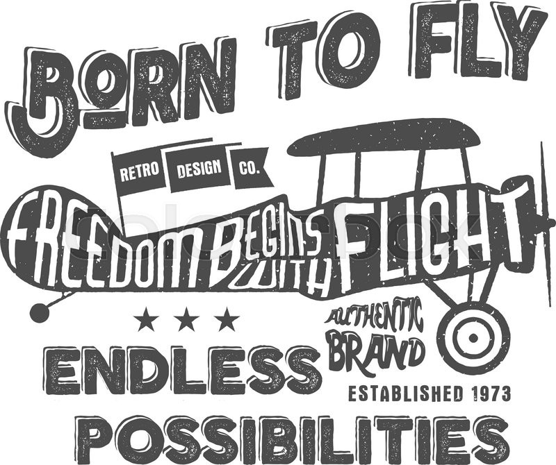 Vintage airplane lettering for printing. Vector prints