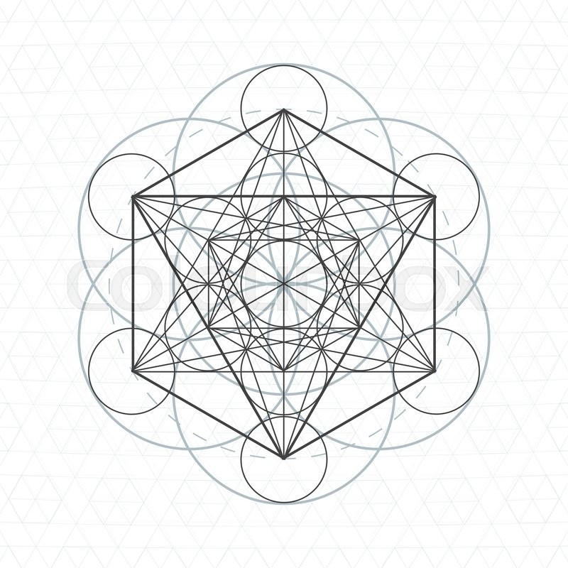 Vector metatron dark contour monochrome sacred geometry