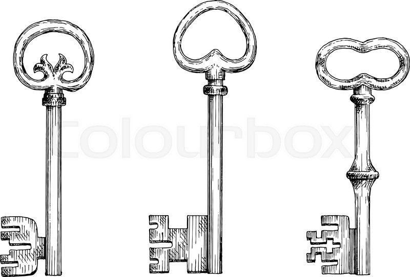 Old fashioned forged door keys sketches with heart shaped