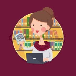 Vector Illustration of a College Girl Student Studying in Library Cartoon Character
