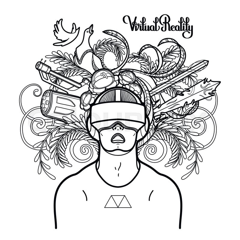 Graphic man with open mouth wearing virtual reality
