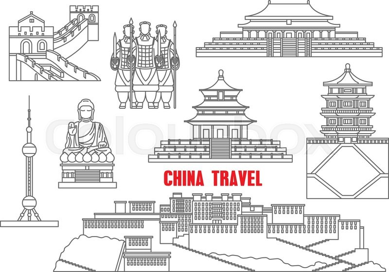 China travel landmarks with the Great Wall, Forbidden City