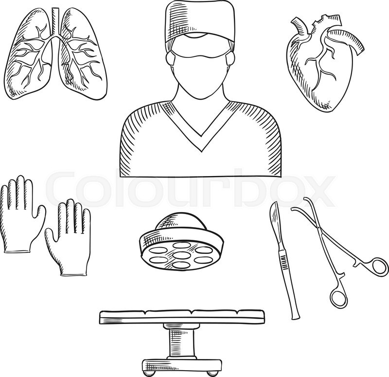 Surgeon profession objects and icons with doctor in mask