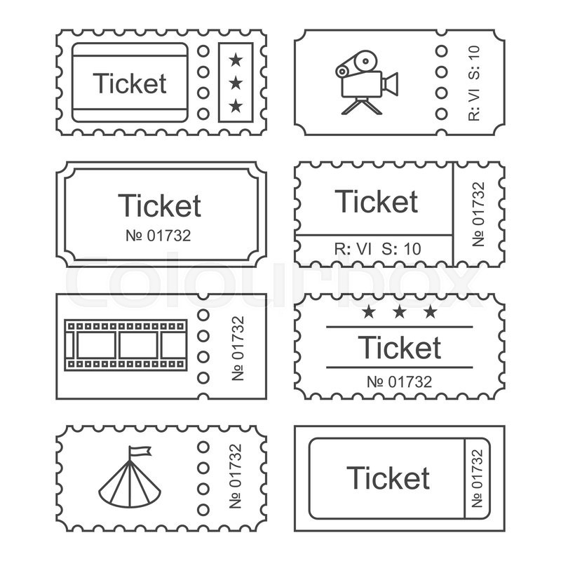 Ticket icon in the outline style. Ticket vector
