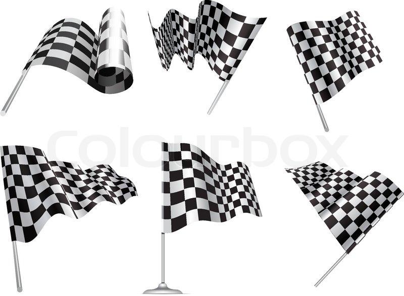 Checkered Flags set illustration on white background