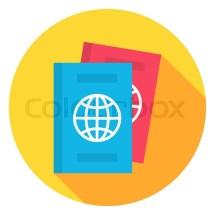 Document Passport Circle Icon. Flat Design Vector