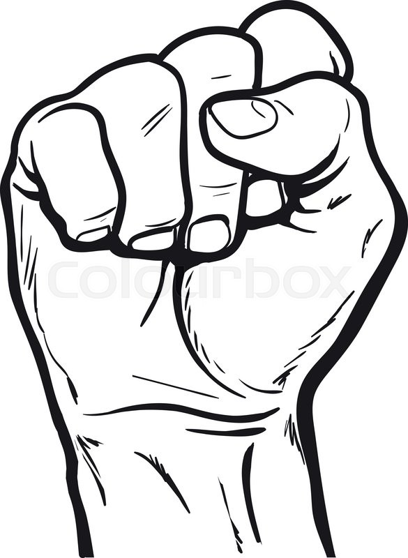 How To Draw Clenched Fist : clenched, Clenched, Fist., Stock, Vector, Colourbox