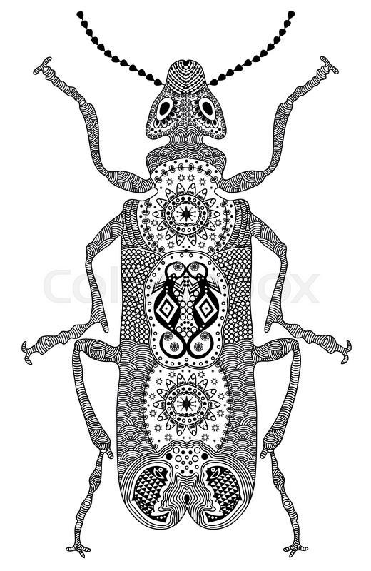 Zentangle stylized black beetle. Hand Drawn vector
