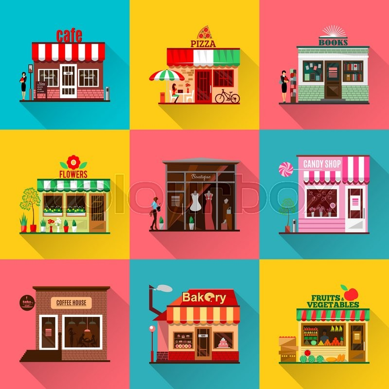 Set Of Flat Shop Building Facades Icons Vector