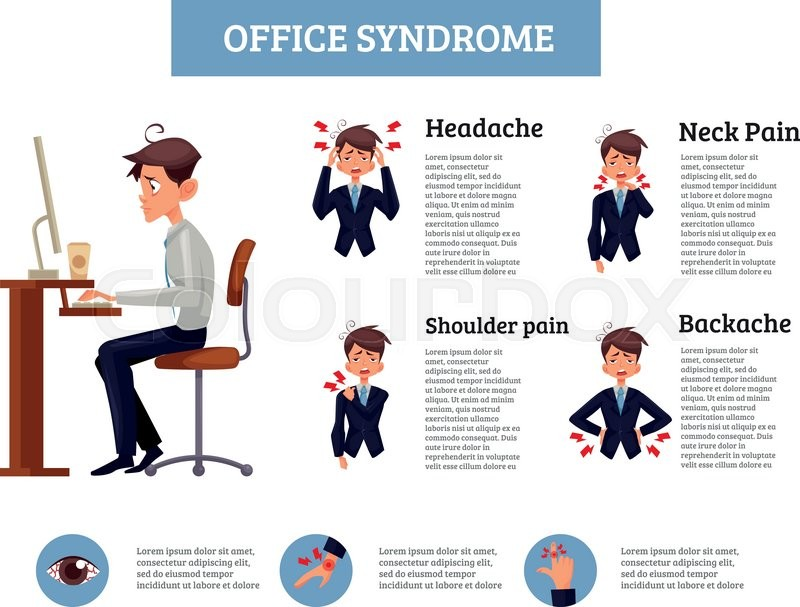 best posture in chair terrifying swing queenstown new zealand infographics office syndrome, vector ... | stock colourbox