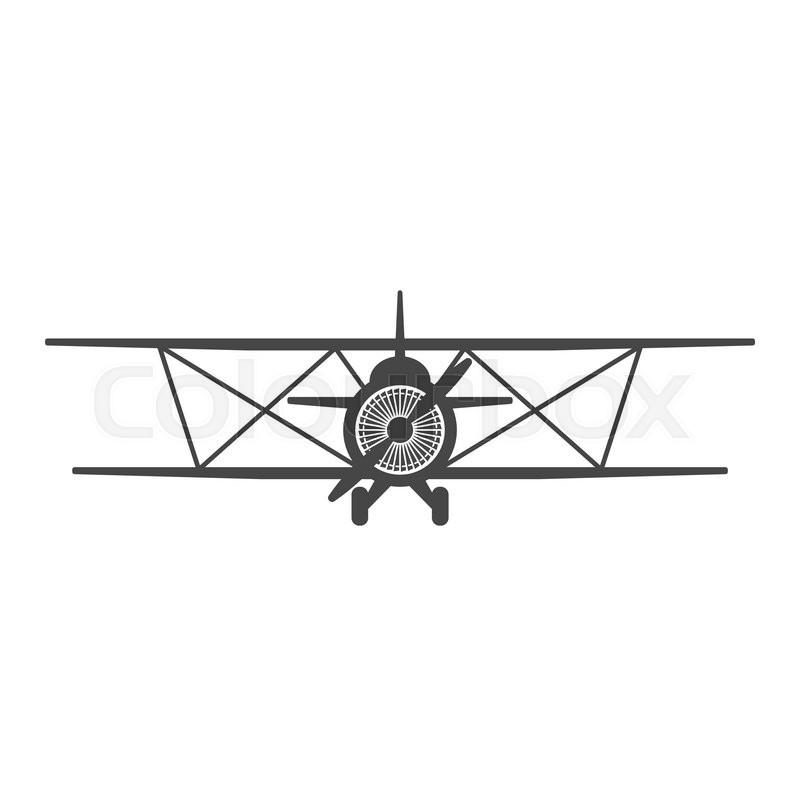 Biplane. Retro airplane illustration. Vintage plane front