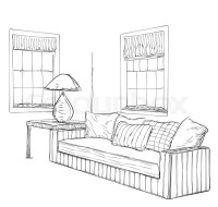 Modern interior room sketch. Hand drawn furniture. | Stock ...