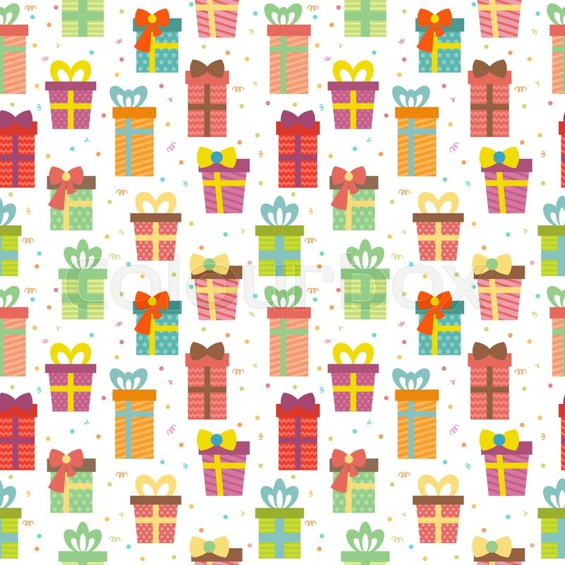 Cute Merry Christmas Wallpaper 2016 Seamless Pattern With Gift Boxes Cute Birthday Presents