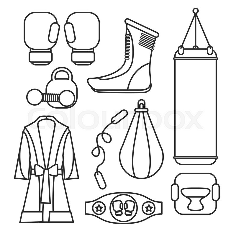 Boxing vector design elements. Fighting and boxing