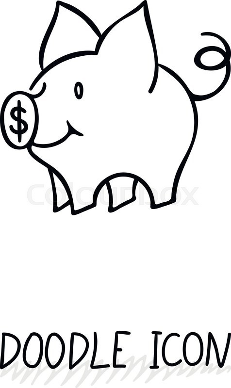 Vector icon with doodle piggy bank. Money pig for savings