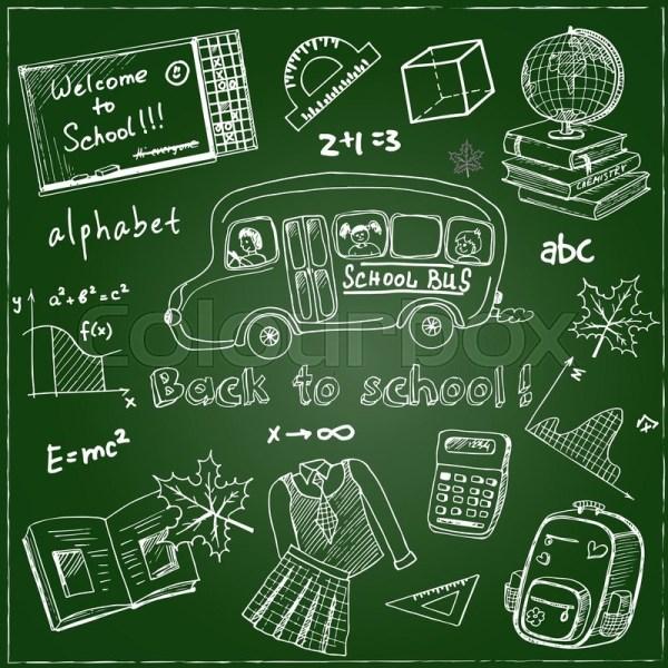 Set Of School Drawings Chalkboard. Sketches. Hand