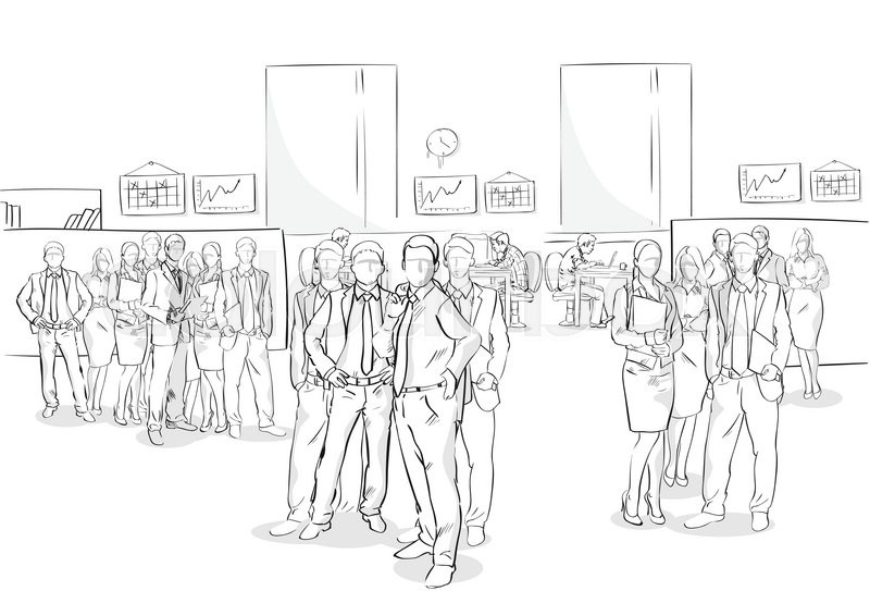 Sketch Businesspeople Crowd Office Interior Business Team