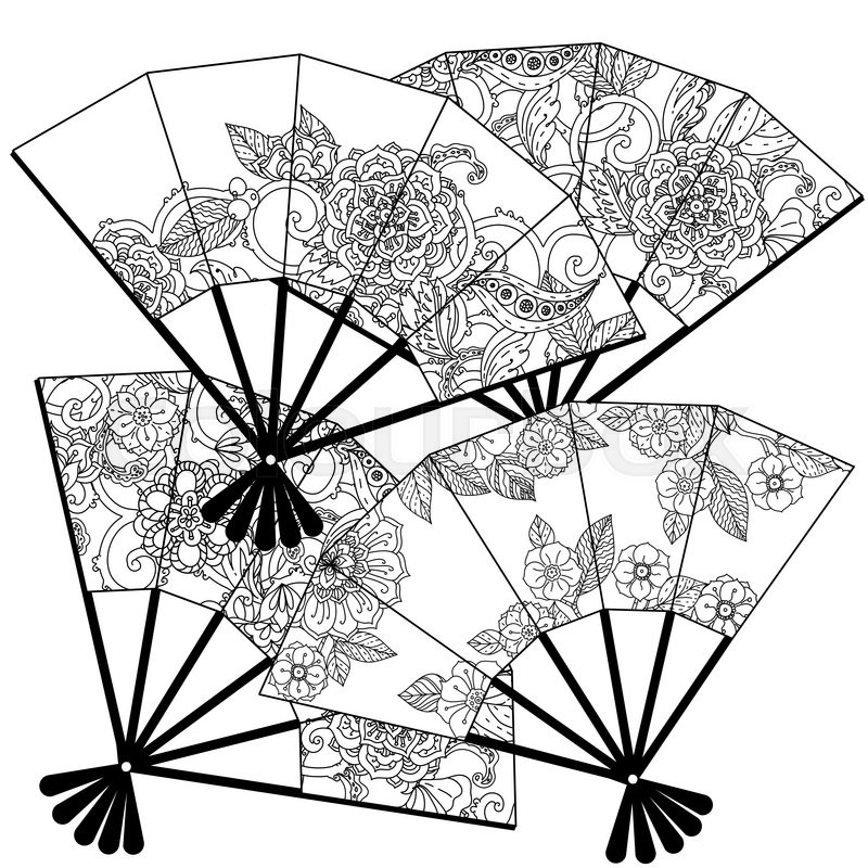 Uncoloured Oriental fans decorated with floral patterns