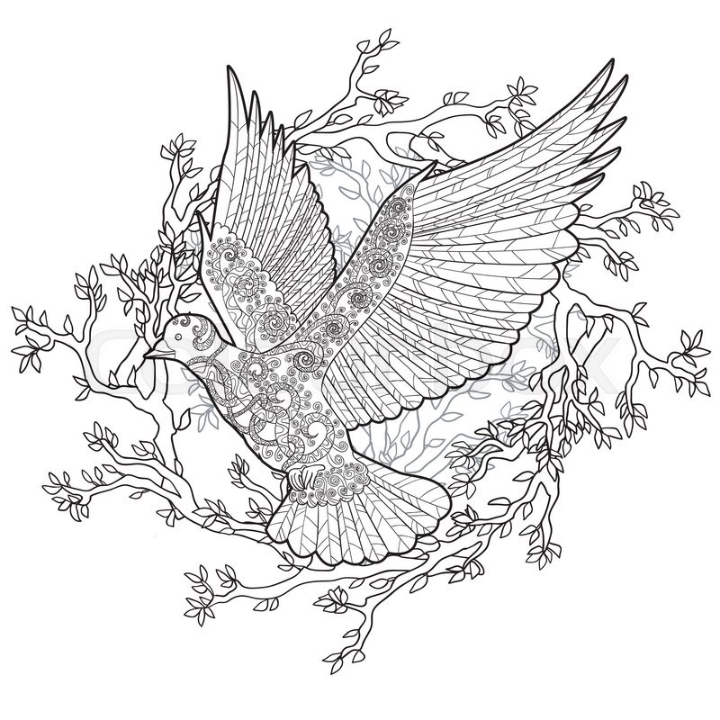 Flying dove with high details. Adult antistress coloring