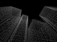 Abstract digital graphic background. Modern buildings ...