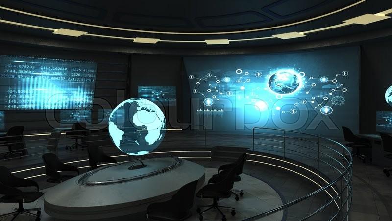 Futuristic interior view of dark office   Stock Photo