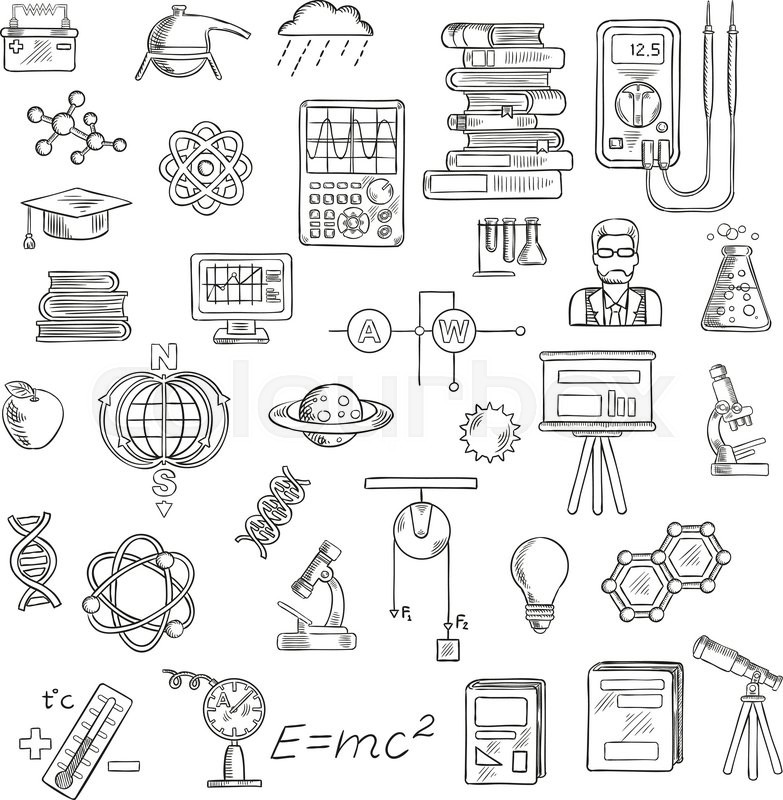 Physics, chemistry and astronomy sketch icons for