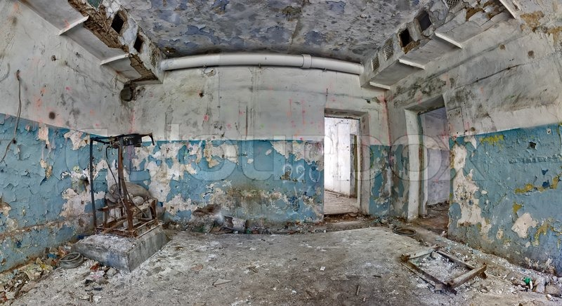 Old And Abandoned House Inside Hdr Panorama Stock Photo