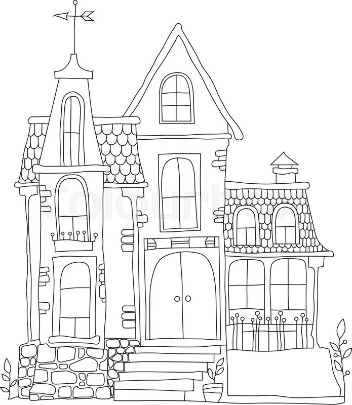 In cartoon style mansion. black and white vector