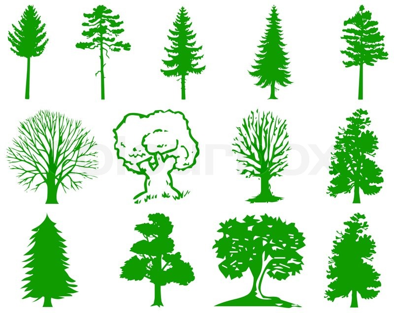 vector trees icons stock