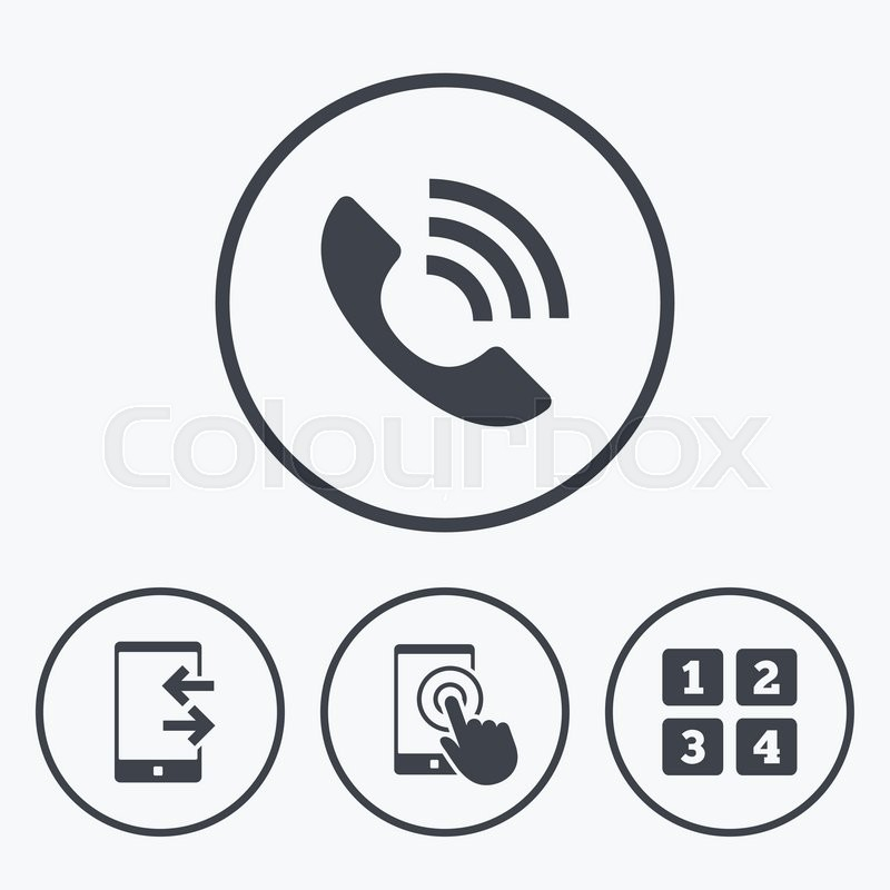 Phone icons. Touch screen smartphone sign. Call center