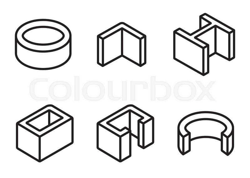 Vector line metal profilies icons set. Steel product and