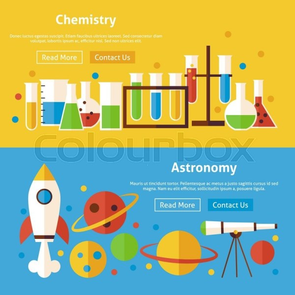 Chemistry And Astronomy Flat Website Banners Set. Vector