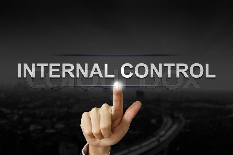Business hand clicking internal control button on black blurred background  Stock Photo  Colourbox