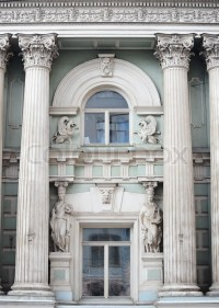 Roman Greek Architecture Design In Window Of a Building ...