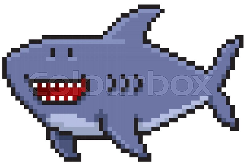 Vector illustration of Cartoon Shark  Pixel design