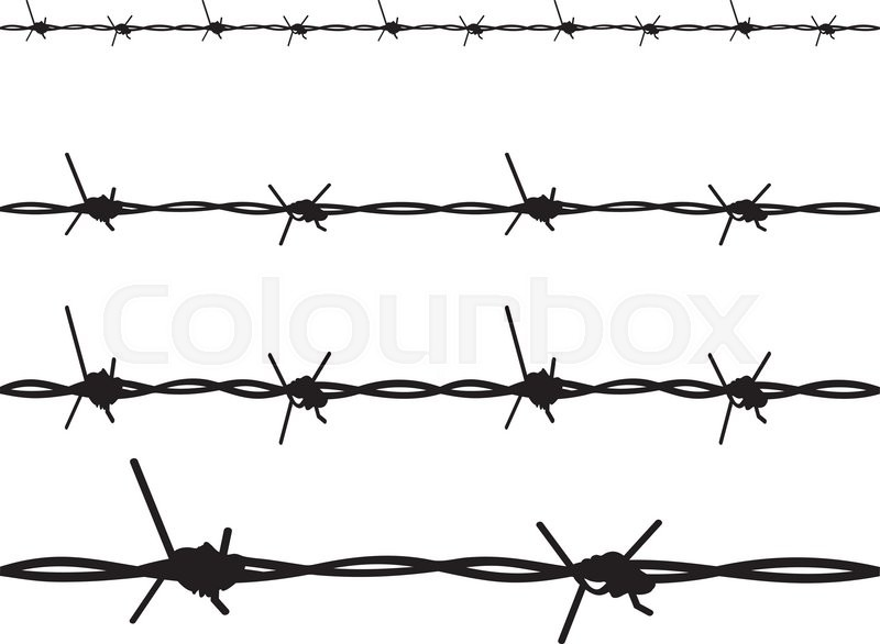 Silhouette barbed wire illustration on white background