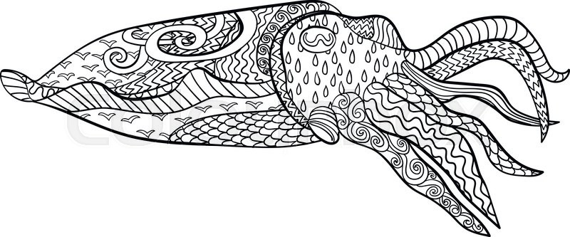 Cuttlefish with high details. Adult antistress coloring