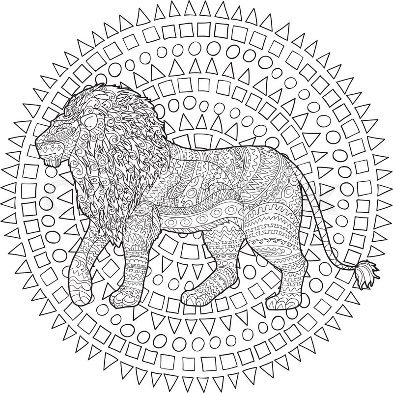 Adult coloring page for antistress art therapy. Hand drawn