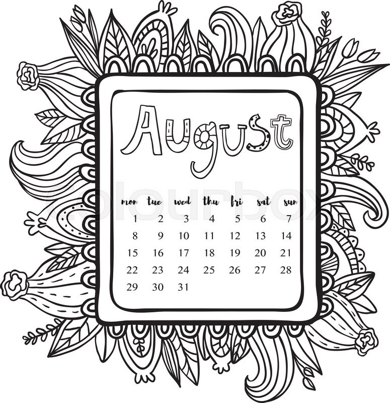 August 2016 calendar. Doodle frame. Cute floral decorated