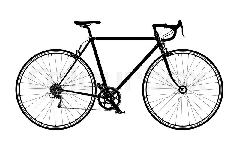 Classic mens town, road bike silhouette, detailed vector
