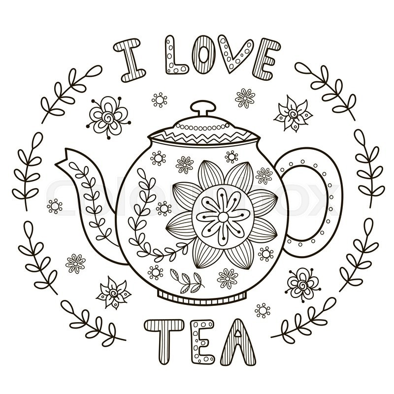 I Love Tea illustration for coloring book or print. Vector