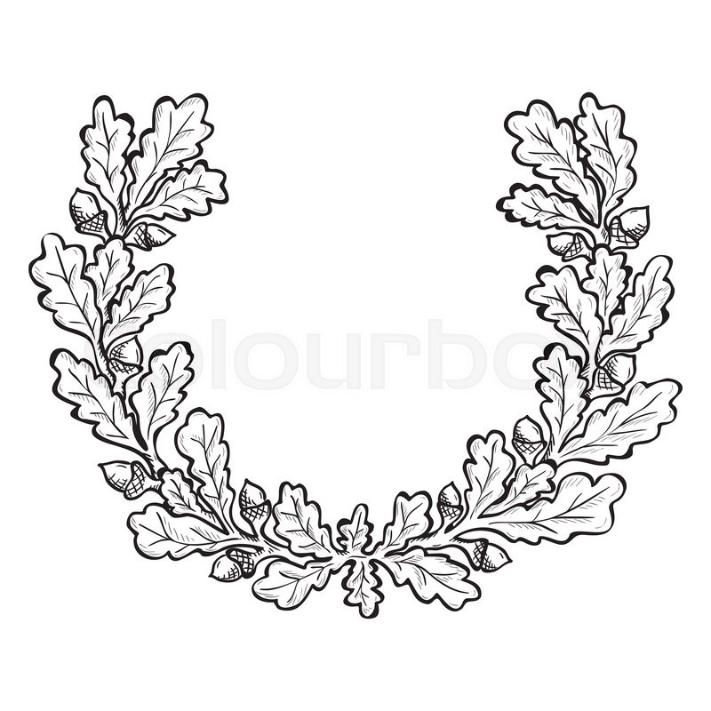 Artistic hand drawn illustration of oak wreath, ink