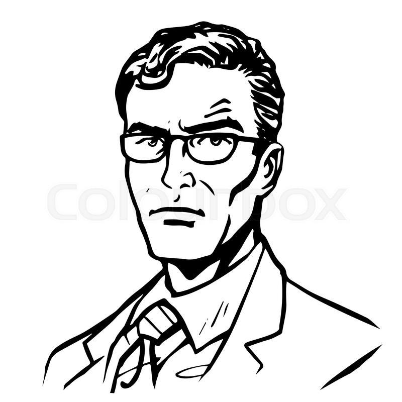 Man businessman pop art retro style line art. silhouette