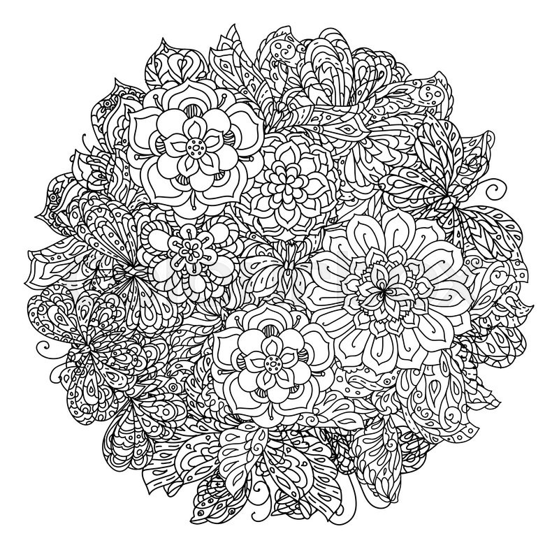 Uncoloured Flowers And Butterfly For Adult Coloring Book
